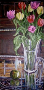 Tulips on Glass Table